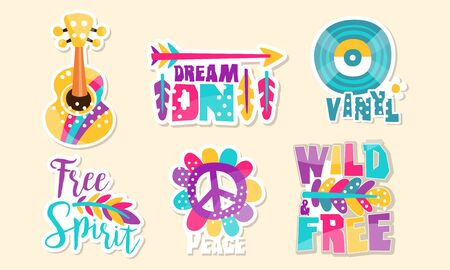 Retro Hippie Patches Collection, Cute Colorful Bright Stickers Vector Illustration