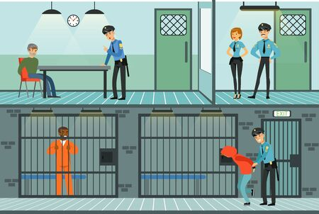 Police Department Set, Policemen Working and Questioning Suspects, Prison Cell with Prisoners Vector Illustration