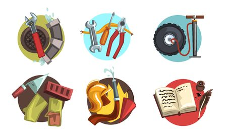 Symbols of Various Professions Collection, Builder, Fireman, Poet, Plumber, Electrician Signs Vector Illustration