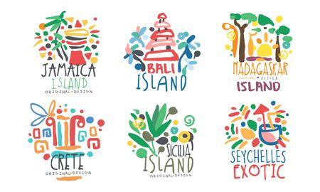 Tropical Exotic Islands Design, Jamaika, Bali, Madagascar, Crete, Sicilia, Seychelles Vector Illustration