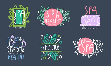 Spa Club Design Collection, Healthy Beauty Studio Badges Hand Drawn Vector Illustration