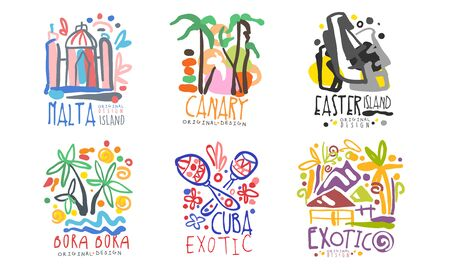 Tropical Exotic Islands   Design, Malta, Canary, Easter, Bora Bora, Cuba, Vector Illustration Illustration
