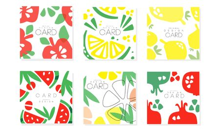 Collection of Cards with Juicy Fruits, Healthy Food Design Element Vector Illustration