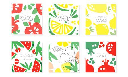 Sammlung von Karten mit saftigen Früchten, gesunde Lebensmittel-Design-Element-Vektor-Illustration