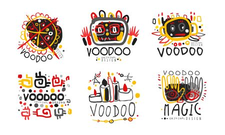 Voodoo Original Design Collection, African or American Magic Culture Hand Drawn Badges Vector Illustration