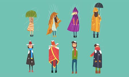 People Freezing Outside on Cold, Rainy and Windy Day, Autumn and Winter Season Cartoon Vector Illustration. 向量圖像