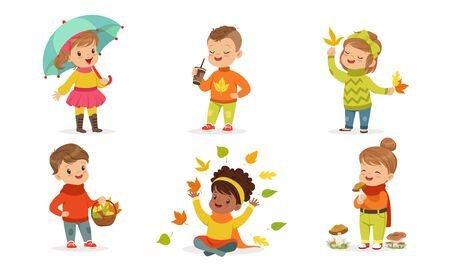 Outdoor Autumn Activities Collection, Cute Boys and Girls Having Good Time, Walking and Playing Wearing Warm Autumnal Clothes Vector Illustration