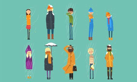 People in Coats Freezing Outside on Cold, Rainy and Windy Day, Autumn and Winter Season Vector Illustration