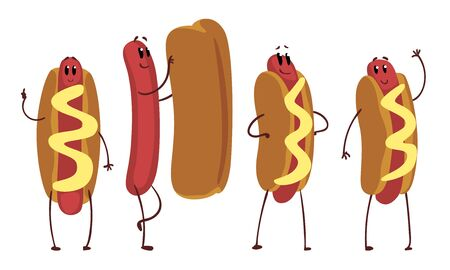 Funny Hot Dogs Collection, Humanized Fast Food Cartoon Characters in Various Poses Vector Illustration