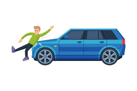 Car Hitting Pedestrian on the Street, Road Accident Flat Vector Illustration