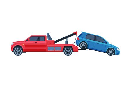 Tow Truck Evacuating Blue Car, Road Accident Flat Vector Illustration