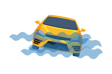 Car Submerging in Water, Auto Accident Flat Vector Illustration Ilustração