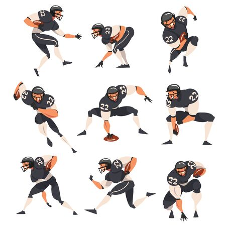 Collection of American Football Players, Male Athlete Characters in Black Sports Uniform and Protective Helmet in Action Vector Illustration Ilustração