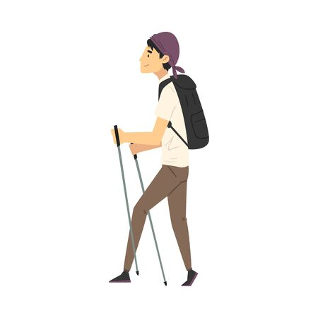 Young Man Carrying Hiking Backpack Walking with Sticks Vector Illustration