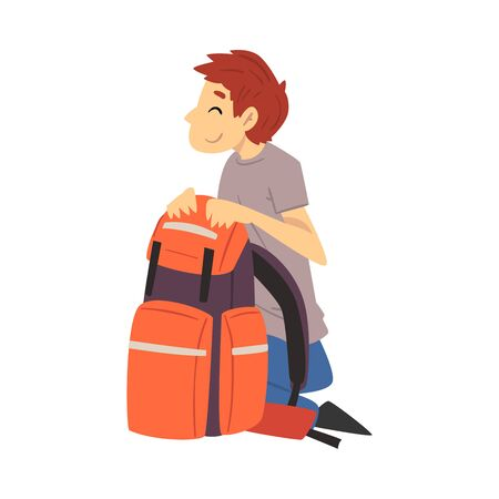 Young Man with Hiking Backpack Going to Put Up Tent Vector Illustration