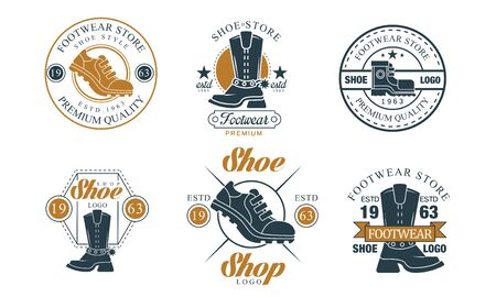 Footwear Store Design Collection, Shoe Shop Premium Quality Badges Vector Illustration on White Background