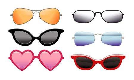 Collection of Colorful Sunglasses of Different Shapes, Modern and Retro Eyeglasses Vector Illustration