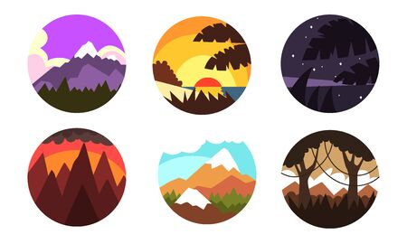 Wild Nature Landscapes in Circles Collection, Mountain and Forest Sceneries at Different Times of Day Vector Illustration