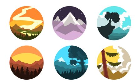 Wild Nature Landscapes in Circles Collection, Beautiful Mountain Sceneries at Different Times of Day Vector Illustration