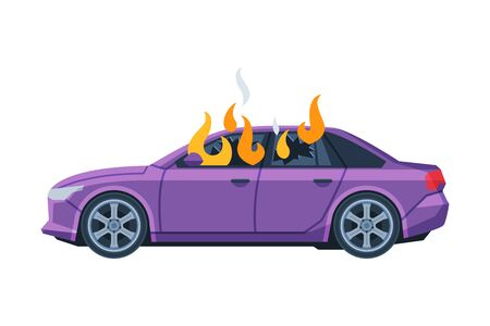Burning Car, Auto Accident, Purple Car Side View Flat Vector Illustration on White Background.