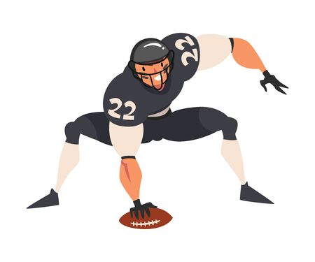 American Football Player with Ball, Male Athlete Character in Black Sports Uniform and Protective Helmet in Action Vector Illustration on White Background.