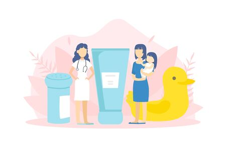 Young Mother with Kid Visiting Doctor, Tiny People and Big Baby Care Accessories, Medical Check Up Vector Illustration in Flat Style. 일러스트