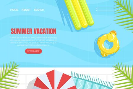 Summer Vacation Landing Page Template, Summertime Traveling, Pool with Colorful Floats Web Page, Mobile App, Homepage Vector Illustration
