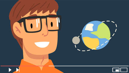 Young Man Wearing Glasses Streaming about Planets Vector Illustration