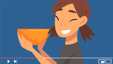 Young Woman Advertising Something Vector Illustration. Entertainment Vlog Concept