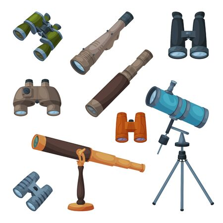 Optical Devices Collection, Binoculars, Spyglass, Telescope, Searching Science Magnifying Equipment Vector Illustration