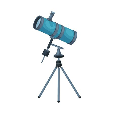 Modern Telescope Optical Device, Astronomy Science Magnifying Equipment Vector Illustration 向量圖像