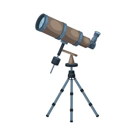 Telescope Optical Device, Astronomy Science Magnifying Equipment Vector Illustration
