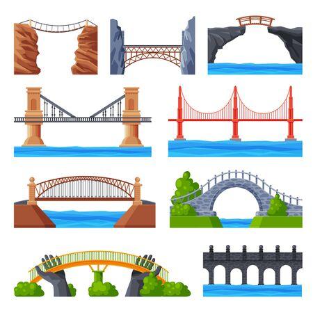 Various Bridges Collection, Urban Architecture Design Elements, Bridge Construction Flat Vector Illustration