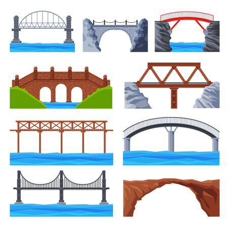 Various Bridges Collection, Urban Architecture Design Elements, Iron, Wooden and Stone Bridges Flat Vector Illustration