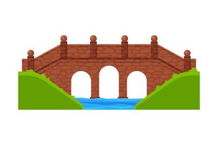 Stone Bridge, Footbridge, Architectural Design Element Flat Vector Illustration