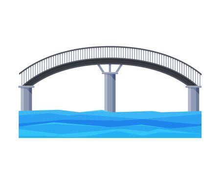 Arched Bridge, City Architectural Design Element, Bridge Construction Flat Vector Illustration