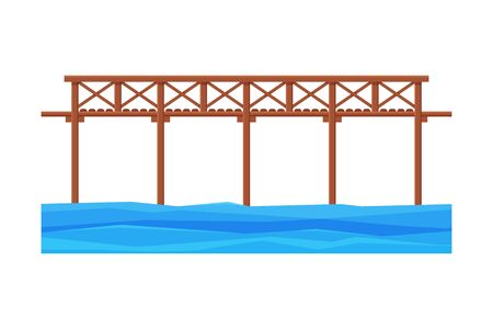 Wooden Bridge, Architectural Design Element, Bridge Construction Flat Vector Illustration