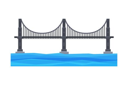 Modern Iron Bridge, City Architectural Design Element, Bridge Construction Flat Vector Illustration
