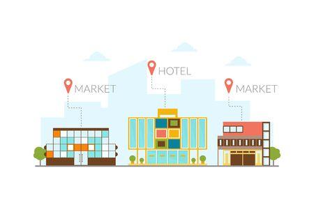 Market, Hotel Buildings, Modern Cityscape Design Elements Vector Illustration