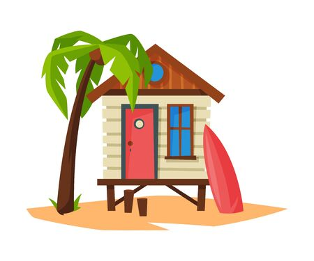 Tropical Beach Bungalow on Sea Coast, Summer Seaside Vacation Wooden Cabin, Palm Tree and Surfboard Vector Illustration