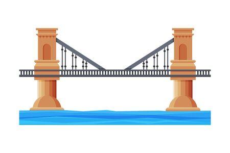Railroad Bridge with Concrete Pillars, Architectural Design Element, Bridge Construction Flat Vector Illustration on White Background.