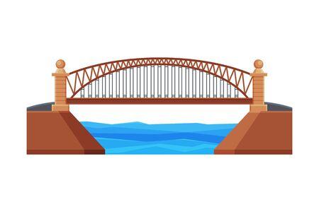 Arched Bridge, Architectural Design Element, Urban Construction Flat Vector Illustration on White Background.