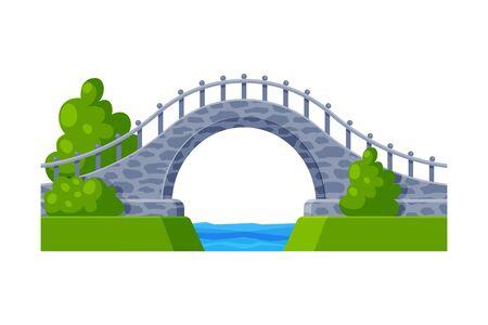 Stone Arched Bridge, Architectural Design Element Flat Vector Illustration on White Background. Illustration