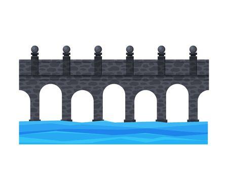 Stone Bridge, City Architectural Design Element Flat Vector Illustration on White Background. Illustration