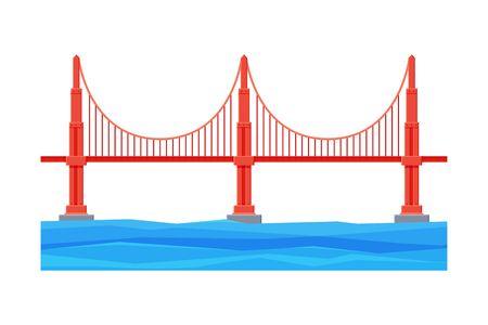 Golden Gate Bridge, Architecture and City Construction Flat Vector Illustration on White Background. Illustration