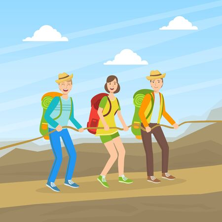 Cheerful Tourists Climbing on Nature, People in Outdoor Mountain Landscape, Summer Holidays Adventure Vector illustration