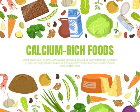 Calcium Rich Foods Banner Template, High Calcium Food Products and Space for Text Vector Illustration, Web Design. Illustration