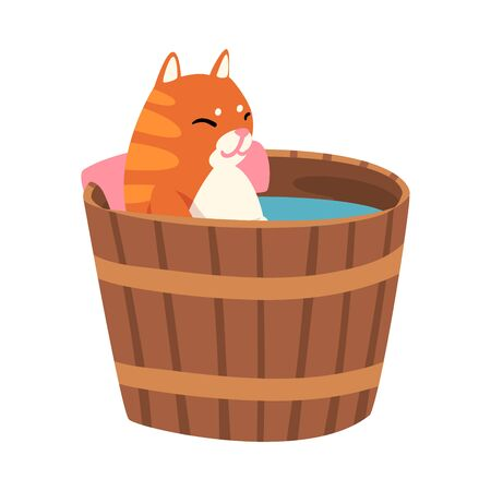 Red Cat Taking Japanese Hot Spring Bath, Funny Pet Animal Enjoying Spa Procedure in Wooden Barrel Vector illustration on White Background.