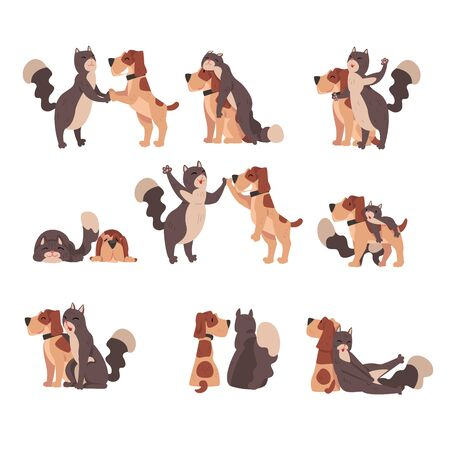 Animal Friendship Set, Cute Happy Cat and Dog, Cute Pets Characters are Best Friends Vector illustration