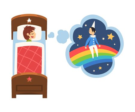 Cute Boy Sleeping in Bed and Dreaming About Boy Sitting on Rainbow, Kid Lying in Bed Having Sweet Dreams Vector Illustration Illustration